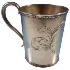 Tifft & Whiting Coin Silver Baby Cup with Engraved Scrollwork