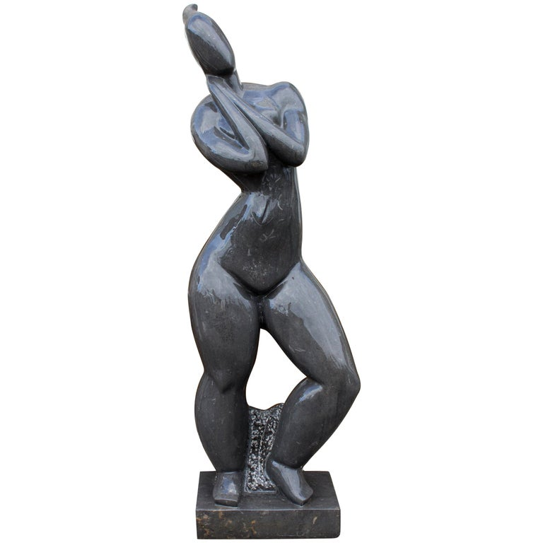 1990s Polished Modern Figurative Woman Sculpture in Pure Belgian Black Marble For Sale