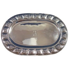 Aztec Rose by Sanborns Mexican Sterling Silver Bread Tray Oval