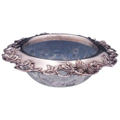 Blackberry by Tiffany & Co. Sterling Silver Fruit Bowl with Cut Glass Leaves