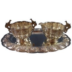 Aztec Rose by Sanborns Mexican Sterling Silver Sugar Creamer Tray 3-Piece Set