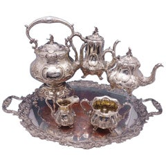 Henry Wilkinson Sterling Silver 6-Piece Tea Set with Crest Bird Finial Sp Tray