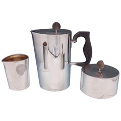 Hermann Danish Sterling Silver Coffee 3-Piece Set Coffee Sugar Creamer