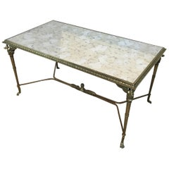 Neoclassical Bronze and Brass Coffee Table with Swanheads & Faux-Antique Mirrors