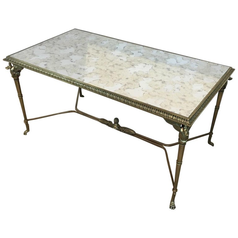 Neoclassical Bronze and Brass Coffee Table with Swanheads & Faux-Antique Mirrors For Sale