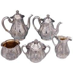Poppy by Gorham Silver Plate Tea Set 5pc #0352 Coffee Tea Sugar Creamer