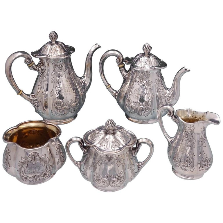 Poppy by Gorham Silver Plate Tea Set 5pc #0352 Coffee Tea Sugar Creamer For Sale
