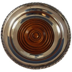 Tane Mexican Mexico Sterling Silver Wine Coaster with Mahogany Wood