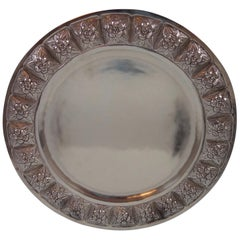 Aztec Rose by Sanborns Mexican Sterling Silver Charger Plate 19.9 ozt