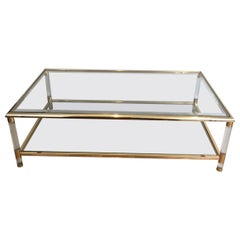 Large Gild on Nickel and Lucite Coffee Table, French, circa 1970