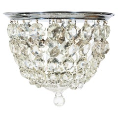 1930s Crystal Basket Nickel Neoclassical Flush Mount Light