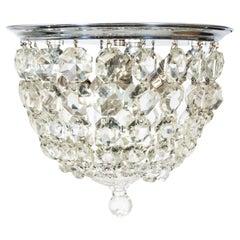 1930er Jahren Crystal Korb Nickel neoklassische Unterputzmontage Licht