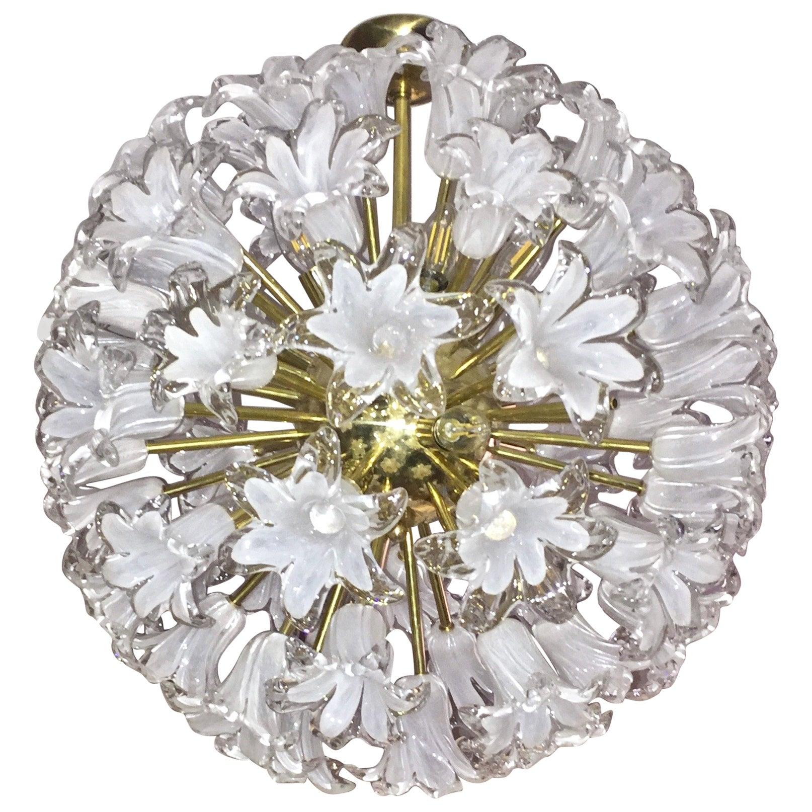 Contemporary Italian White Murano Glass and Brass Sputnik Bud Flower Chandelier