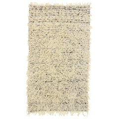 Neutral Moroccan Shag Hallway Runner, Berber Moroccan Reversible Hygge Style Rug