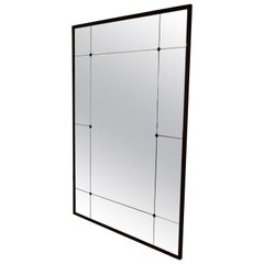 Customizable Floor Mirror Industrial Iron Frame Paneled Glass