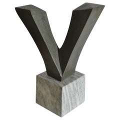 Minimalist Abstract Sculpture in Hard Stone on Sculptural Carrara Marble Plinth