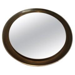 Silver Curved Wood Mirror, circa 1950