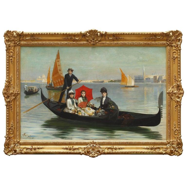 Gondola Ride in Venice by G. Mantegazza For Sale