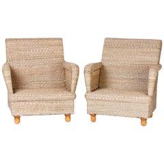 Pair of Mario Torres Wicker Armchairs