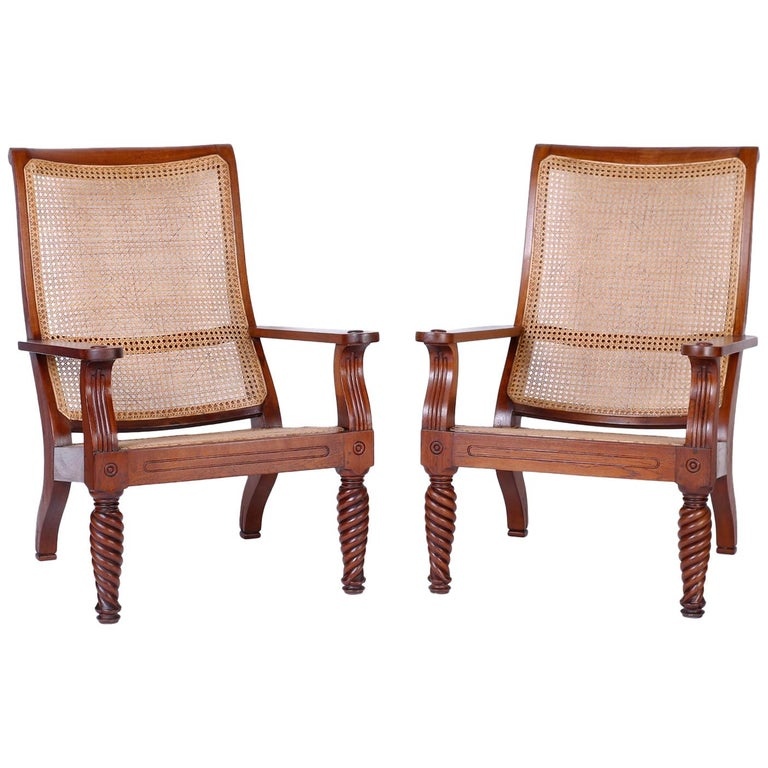 Pair of Antique Anglo-Indian Plantation Chairs For Sale
