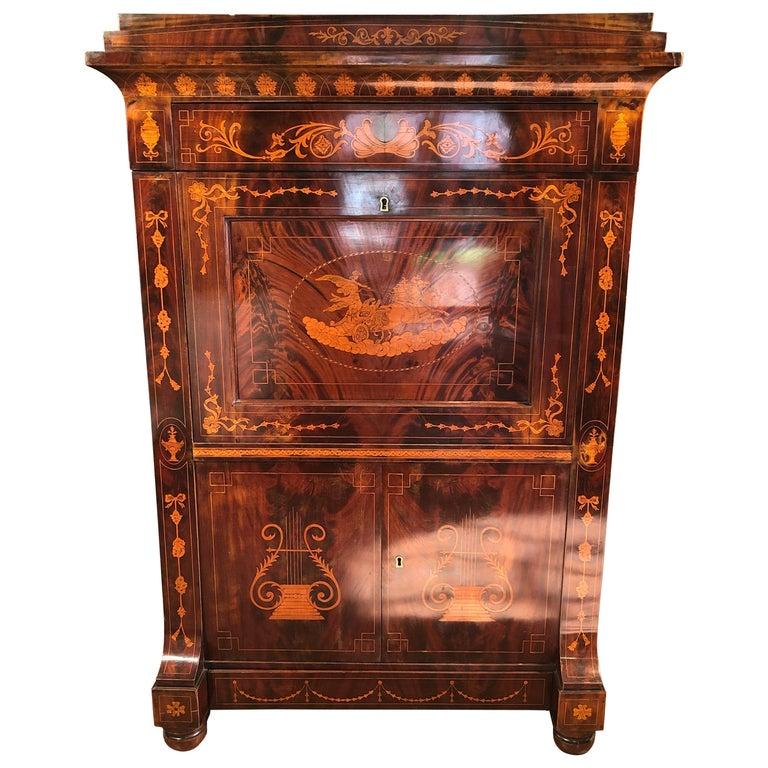 19th Century Charles X Dutch Mahogany Secretaire, 1830s For Sale