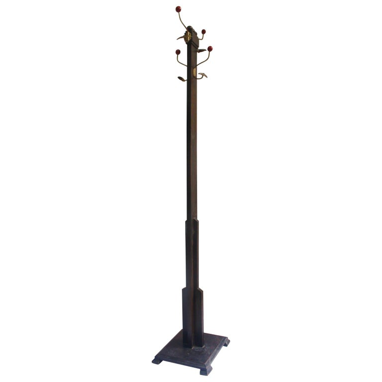 1930s Art Deco Wooden Floor Coat Rack For Sale At 1stdibs