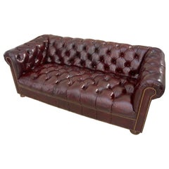 Burgundy Leather Chesterfield Sofa