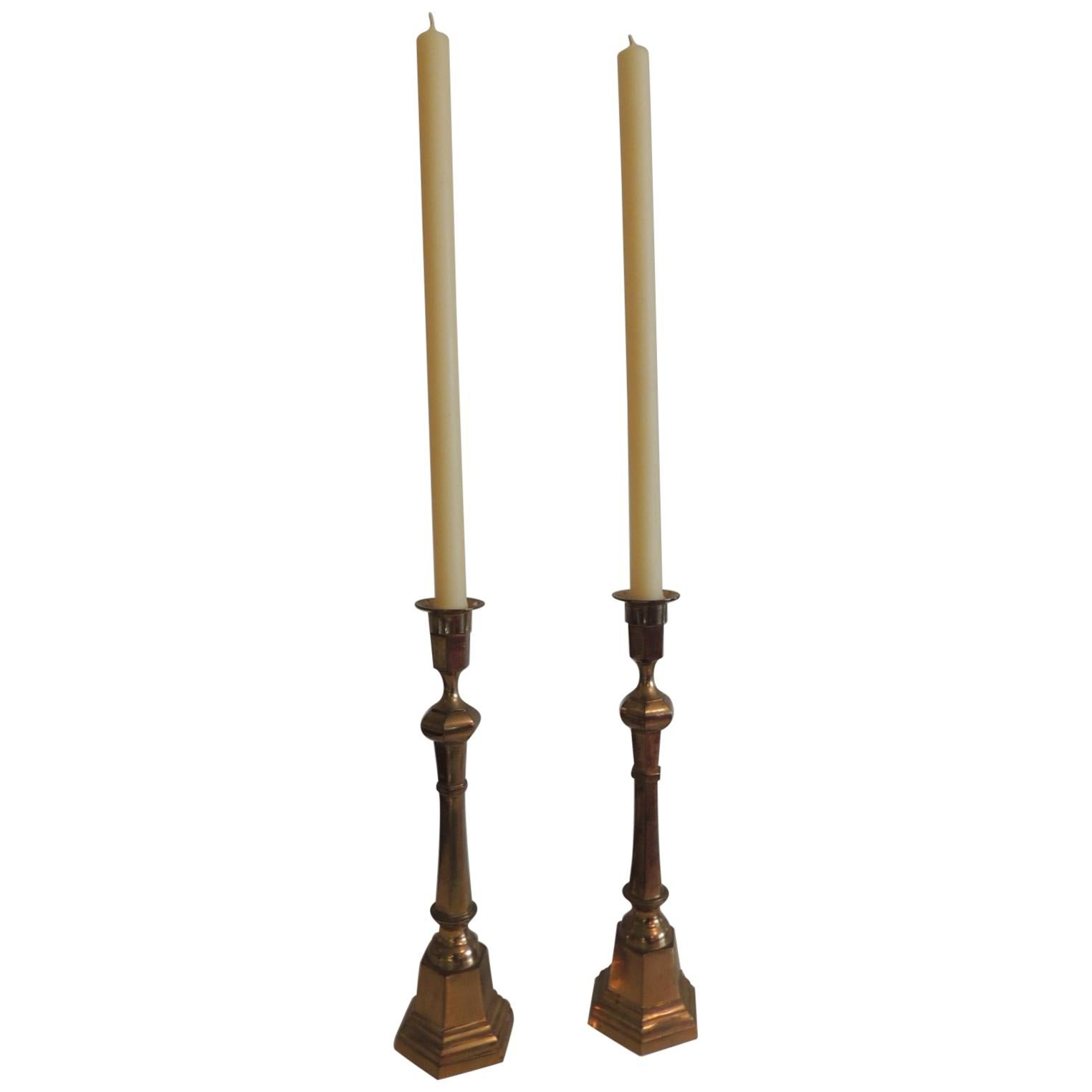 Pair of Brass German Vintage Candlesticks