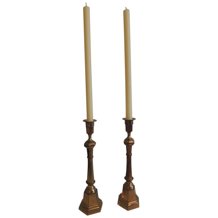 Pair of Brass German Vintage Candlesticks For Sale