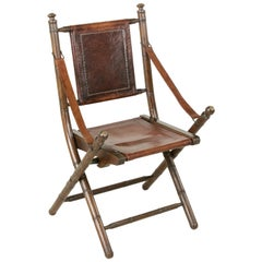 French Colonial Walnut Faux Bamboo Folding Deck Chair, circa 1900