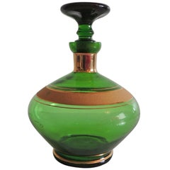 Mid-Century Modern Emerald Green and Gold German Vintage Decanter