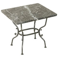 Small Midcentury French Hand Forged Iron Side Table, End Table with Marble Top