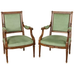 Late 19th Century French Louis XVI Style Hand Carved Walnut Armchairs, Bergeres