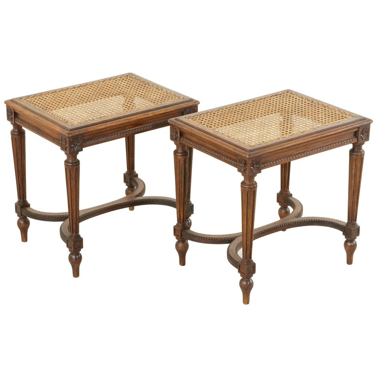 Pair of Early 20th Century French Louis XVI Style Walnut Benches, Caned Seats For Sale