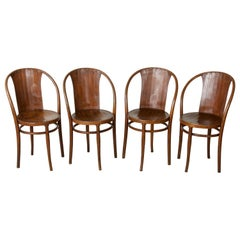 Set of Four Austrian Art Deco Period Bentwood Bistro Chairs by Kohn