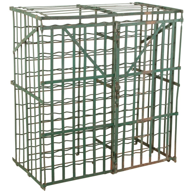 Early 20th Century French Riveted Iron Wine Cage or Wine Cellar for 200 Bottles For Sale