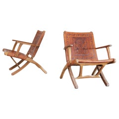 Angel Pazmino Folding Leather Lounge Chairs for Muebles de Estilo