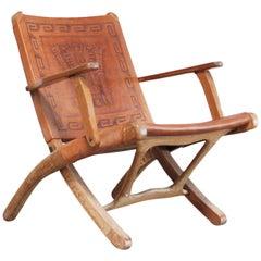 Angel Pazmino Folding Leather Lounge Chair for Muebles de Estilo