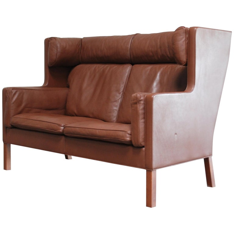 Børge Mogensen Leather Sofa Coupe 2192 for Fredericia For Sale