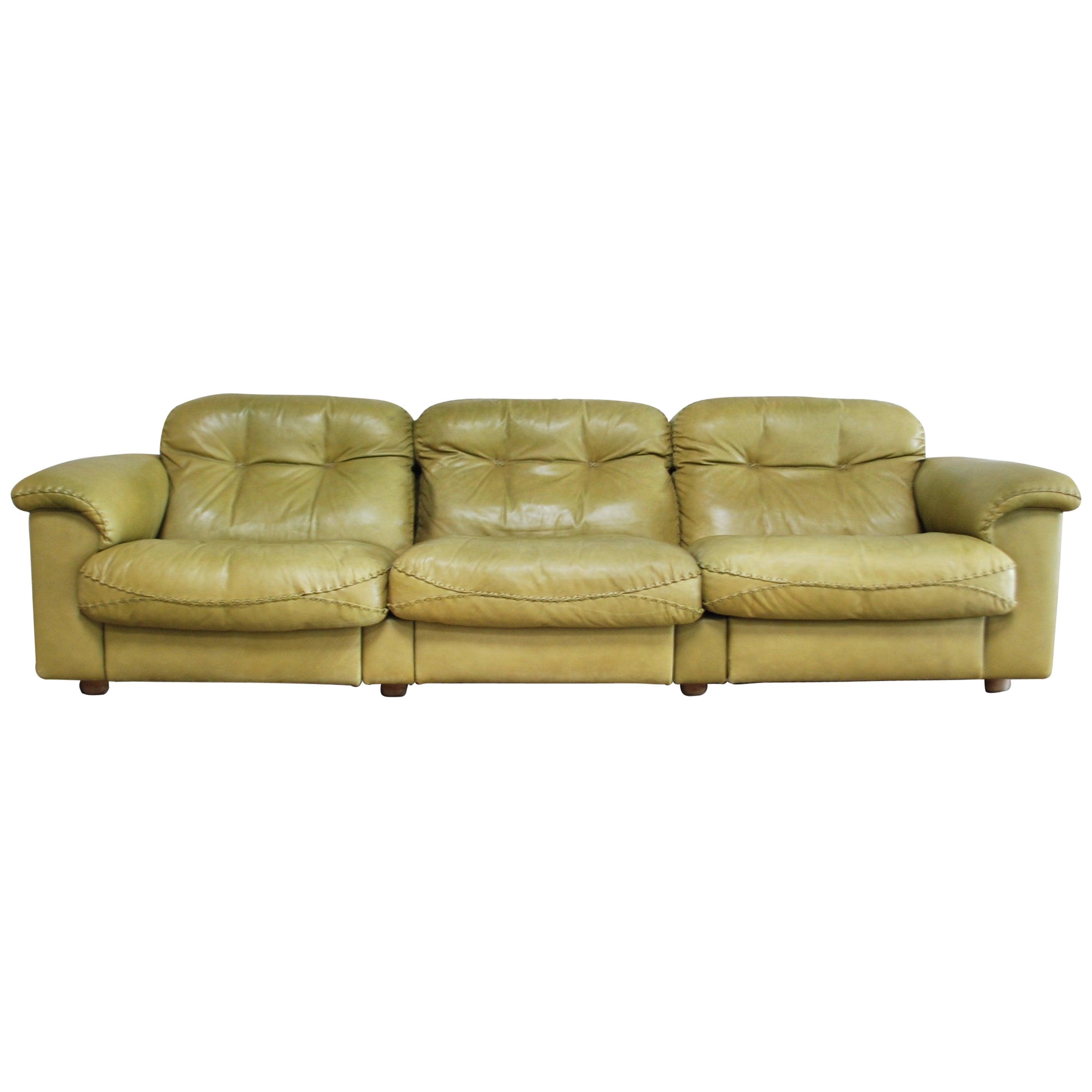 De Sede James Bond Leather Sofa DS 101 Olive Green