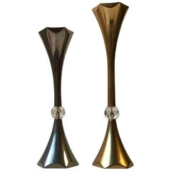 Pair of Midcentury Gold-Plated Candleholders by Hugo Asmussen, 1960s