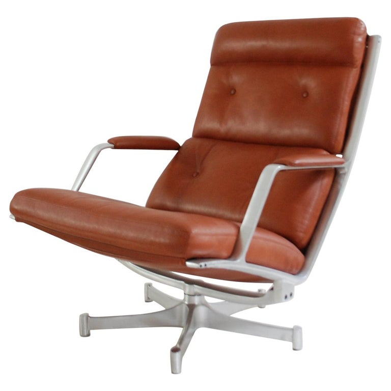 Kill International FK 85 Lounge Chair Red Cognac by Kastholm & Fabricius For Sale
