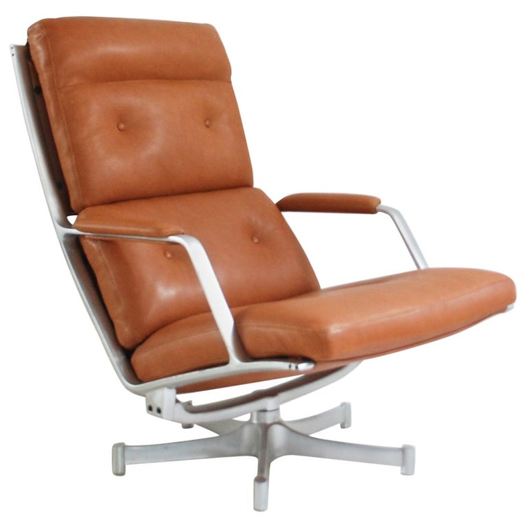Kill International FK 85 Lounge Chair Cognac Natural by Kastholm & Fabricius For Sale