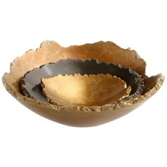 "Solid Bronze ""Burl"" Nesting Bowls / Vessels Set with Natural Edge, in Stock"