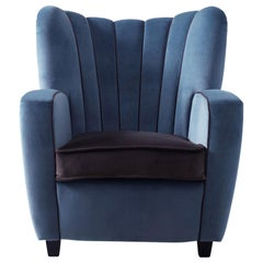 Zarina Chestnut/Pale Blue Baby Armchair by Cesare Cassina by Adele C