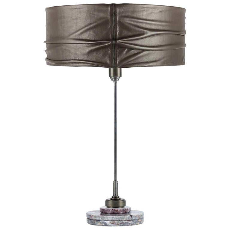 Semele Steel Gray Table Lamp with Salome Marble by Acanthus For Sale