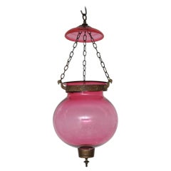 Late 19th Century Cranberry Globe Hall Lantern, English