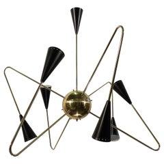 Sputnik Gold 6-Light Chandelier by Fausto Gazzi