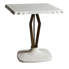Wave Side Table with Square Top and Metal by Paolo Salvadè by MGM Marmi & Granit