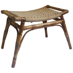 Midcentury Egyptian Revival Bamboo Curved Stool, 1950s